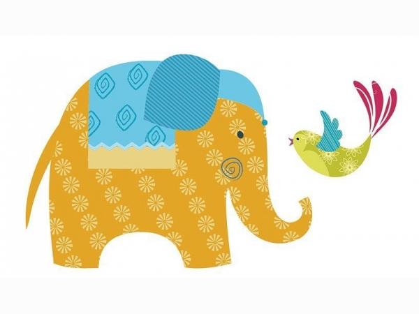 Наклейки на обои слоны Khroma Kidzzz Стикер Elephant KIZ1003