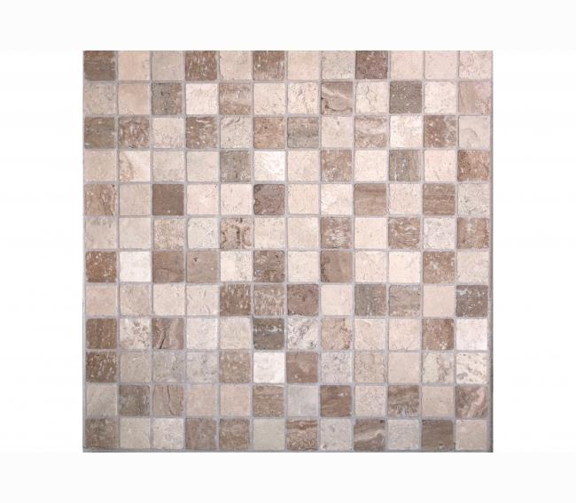 Каменная мозаика м TRAVERTINE MIX TUM 23.8х23.8х4 мм
