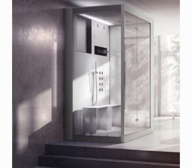 Душевая кабина 150x110xh224 см, в нишу, DX, термостат, цвет: белый/хром Jacuzzi Frame IN2 9448-274A Dx
