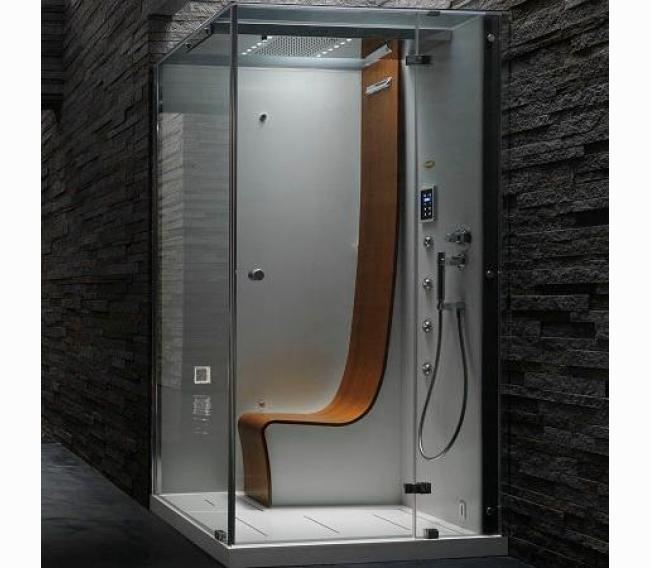 Душевая кабина, 120х100хh225см, угловая Dx, термостат, тонированные стёкла, цвет: белый/хром Jacuzzi Omega 9547-123A Dx