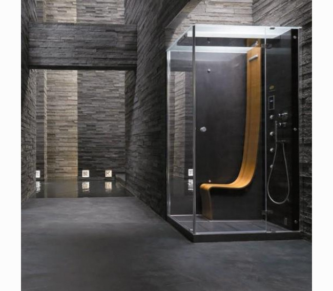 Душевая кабина, 120х100хh225см, угловая Dx, термостат, прозрачные стёкла, цвет: черный/хром Jacuzzi Omega 9547-12219 Dx