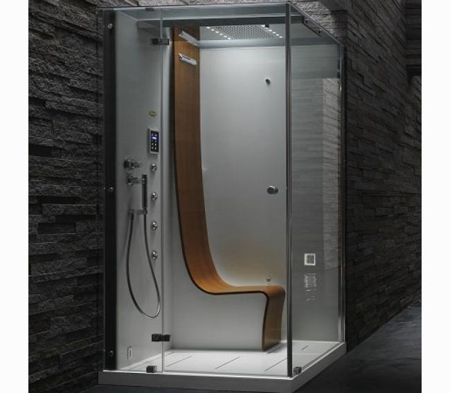 Душевая кабина, 120х100хh225см, угловая Sx, термостат, тонированные стёкла, цвет: белый/хром Jacuzzi Omega 9547-109A Sx