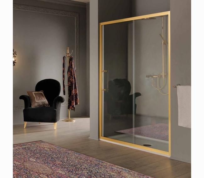 Дверь в нишу/для боковой стены 116-122хh200, профиль и ручки золото, стекло прозрачное+StarClean SAMO VB B7383ELOTR