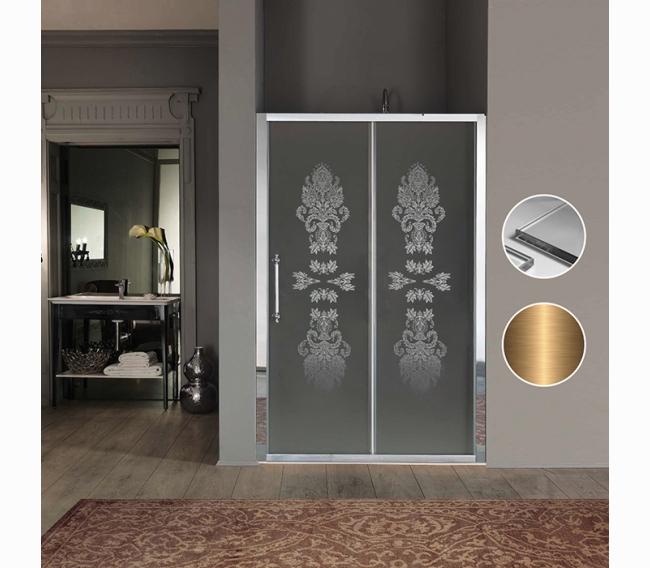 Дверь в нишу/для боковой стены 116-122хh200, профиль и ручки бронза, стекло прозрачное с декором матовым N8+StarClean SAMO Impero BS7380BRXN8DF/120