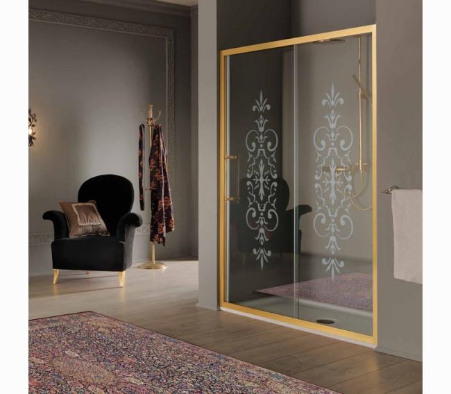 Дверь раздвижная в нишу/для боковой стены 116-122хh200, профиль и ручки золото, стекло прозрачное с матовым декором N6+StarClean SAMO VB B7383ELON6
