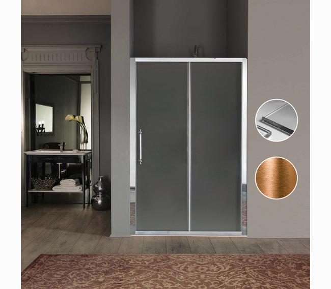 Дверь в нишу/для боковой стены 116-122хh200cм, профиль и ручка бронза, стекло прозрачное + StarClean SAMO Impero BS7380BRXTRDF/120